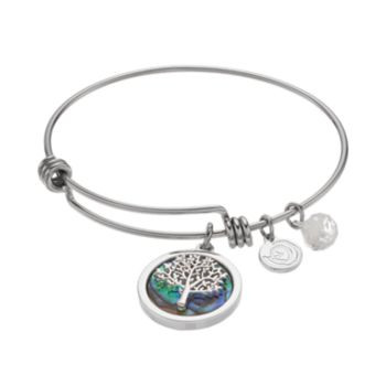 love this life Abalone Family Tree Charm Bangle Bracelet