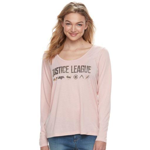 """Juniors' """"Justice League"""" Lattice Back Graphic Tee"""