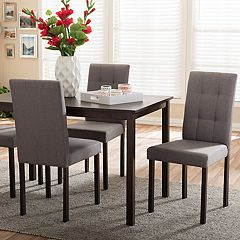 Baxton Studio Andrew II Dining Table & Upholstered Chair 5-piece Set