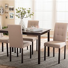 Baxton Studio Andrew II Dining Table & Upholstered Chair 5 pc Set