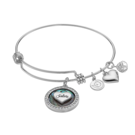 """love this life Abalone & Crystal """"Sisters"""" Heart Charm Bangle Bracelet"""