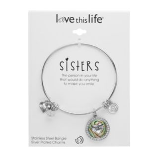 "love this life Abalone & Crystal ""Sisters"" Heart Charm Bangle Bracelet"