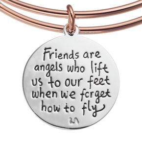 """love this life Crystal """"Friends"""" Angel Wings Charm Bangle Bracelet"""
