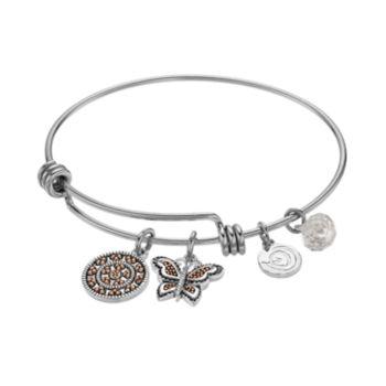 "love this life ""Granddaughter"" Butterfly Charm Bangle Bracelet"