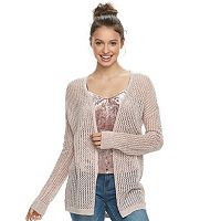 Juniors' Mudd® Lace-up Back Pointelle Cardigan