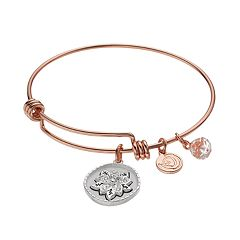 love this life Crystal 'Daughter' Flower Charm Bangle Bracelet