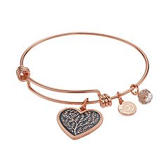 love this life 'Family' Heart Charm Bangle Bracelet