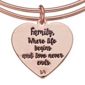 "love this life ""Family"" Heart Charm Bangle Bracelet"