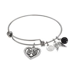 love this life Crystal Angel Heart Charm Bangle Bracelet