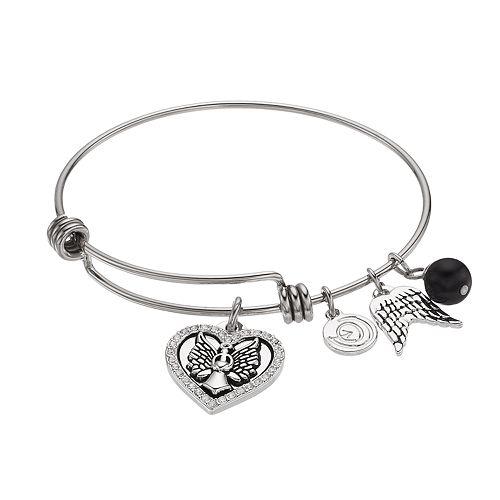 love this life Crystal Angel Heart Charm Bangle Bracelet