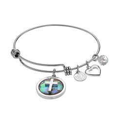love this life Abalone Cross Charm Bangle Bracelet