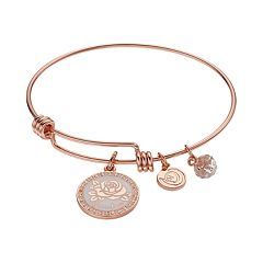 love this life Crystal 'Grandma' Flower Charm Bangle Bracelet