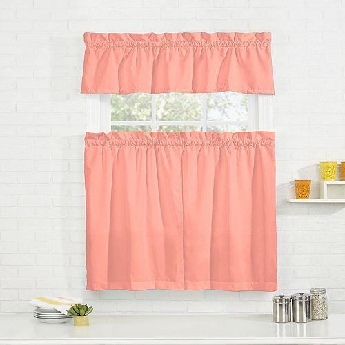 Pairs To Go Cadenza Microfiber Tier & Valance Kitchen Window Curtain Set