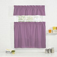 Pairs To Go Cadenza Microfiber Tier & Valance Kitchen Window Curtain Set
