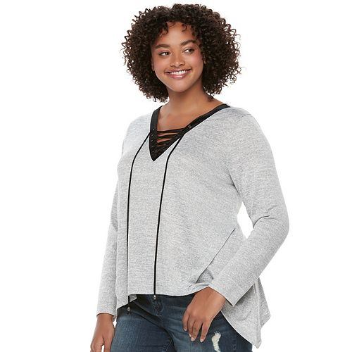 Juniors' Plus Size HeartSoul Lace-Up Shark-Bite Hem Top