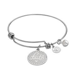 love this life Crystal 'Faith' Charm Bangle Bracelet