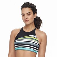 Women's adidas Striped High-Neck D-Cup Crop Bikini Top
