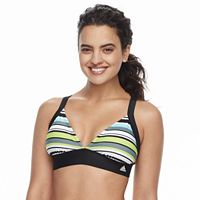 Women's adidas Striped D-Cup Bikini Top