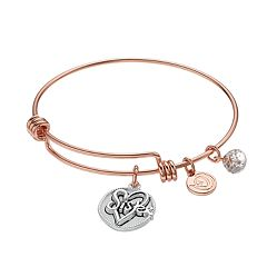love this life 'Sister' Heart Charm Bangle Bracelet