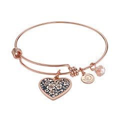 love this life 'Mother Daughter Friends Forever' Heart Charm Bangle Bracelet