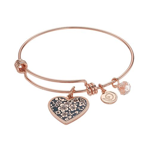 "love this life ""Mother Daughter Friends Forever"" Heart Charm Bangle Bracelet"