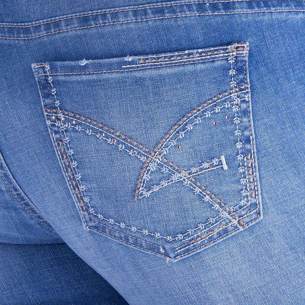Juniors' Amethyst Destructed Skinny Jeans