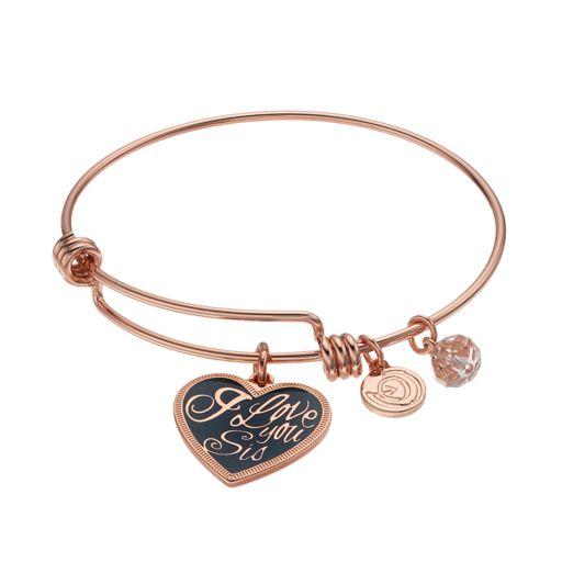 "love this life ""I Love You Sis"" Heart Charm Bangle Bracelet"