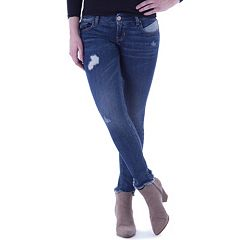 Juniors' Amethyst Distressed Ankle Skinny Jeans