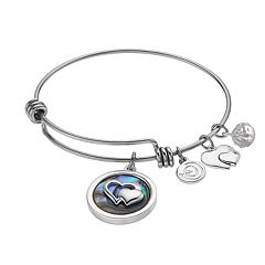 love this life 'Friends Forever' Abalone Heart Charm Bangle Bracelet