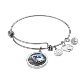 "love this life ""Friends Forever"" Abalone Heart Charm Bangle Bracelet"