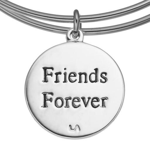 "love this life ""Friends Forever"" Abalone Heart Charm Bangle Bracelet"