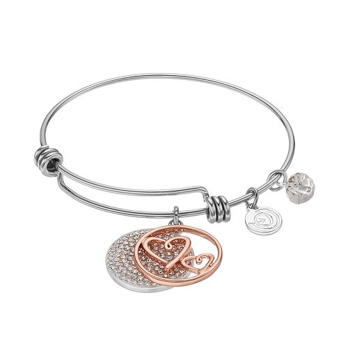 """love this life Crystal """"Mother"""" Heart Charm Bangle Bracelet"""