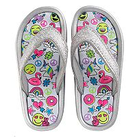 Girls 4-16 Elli by Capelli Emoji Print Sport Slides