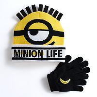 Boys 4-20 Minions Hat & Gloves Set