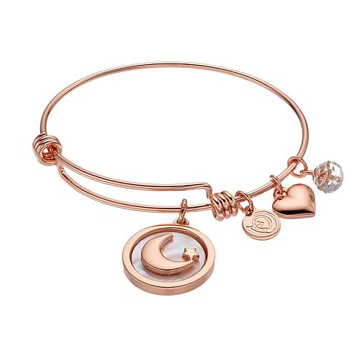 "love this life ""Love You to the Moon and Back"" Mother-of-Pearl Moon Charm Bangle Bracelet"