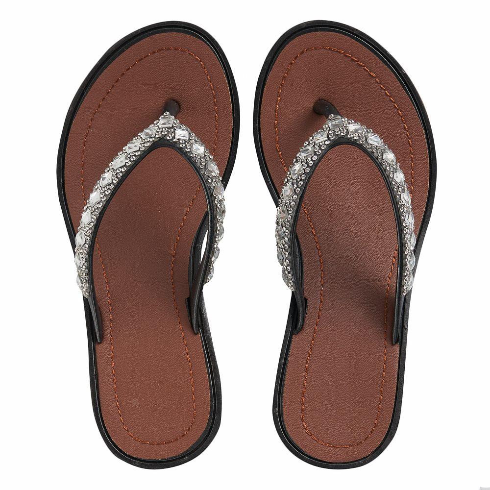 21795664193e Girls 4-16 Elli by Capelli Gem   Rhinestone Wedge Flip Flops