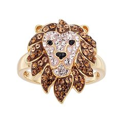Gold Tone Sterling Silver Crystal Lion Ring