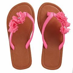 Girls 4-16 Elli by Capelli T-strap Chiffon Flower Flip Flop