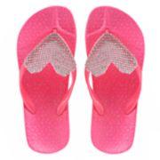 Girls 4-16 Elli by Capelli Gem Heart Jelly Flip Flops
