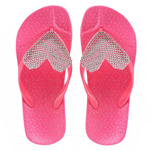 Girls 4-16 Elli by Capelli Gem Heart Jelly Flip Flops