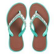 Gilrls 4-16 Rhinestone Jelly Flip Flops