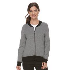 Women's Croft & Barrow® Chevron Bomber Sweater