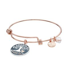 love this life Two Tone 'Family' Tree Charm Bangle Bracelet