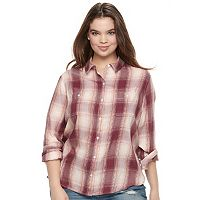Juniors' Plus Size Mudd® Bandana Back Plaid Shirt