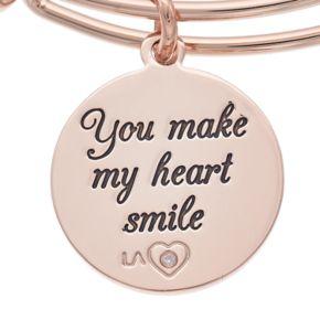 "love this life ""Make My Heart Smile"" Charm Bangle Bracelet"