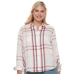 Juniors' Plus Size Mudd® Lace Yoke Plaid Shirt