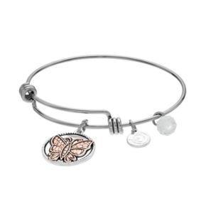 """love this life Two Tone """"Sister"""" Butterfly Charm Bangle Bracelet"""