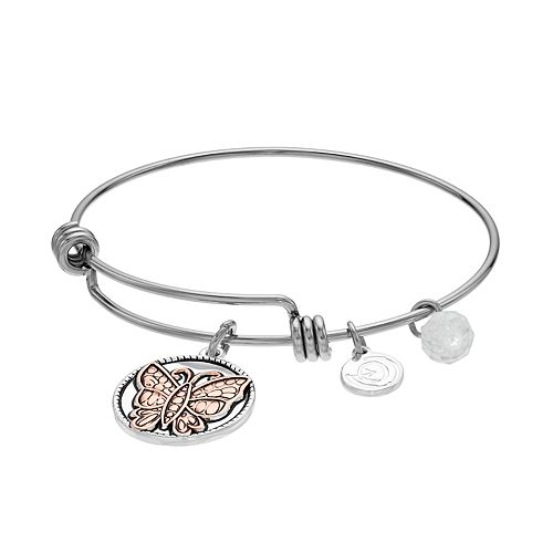 "love this life Two Tone ""Sister"" Butterfly Charm Bangle Bracelet"