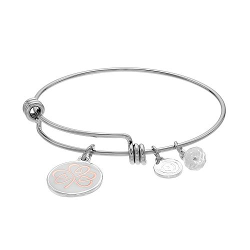 """love this life Two Tone """"Lucky"""" Clover Charm Bangle Bracelet"""