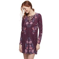 Juniors' About A Girl Print Lace-Up Swing Dress